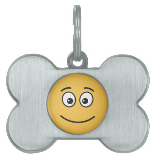 Smiling Face with Open Eyes Pet Name Tag