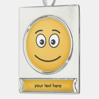 Smiling Face with Open Eyes Silver Plated Banner Ornament