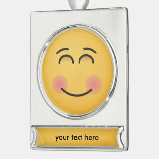 Smiling Face with Smiling Eyes Silver Plated Banner Ornament