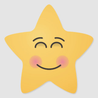 Smiling Face with Smiling Eyes Star Sticker