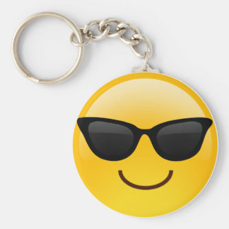 Smiling Face With Sunglasses Cool Emoji Basic Round Button Key Ring