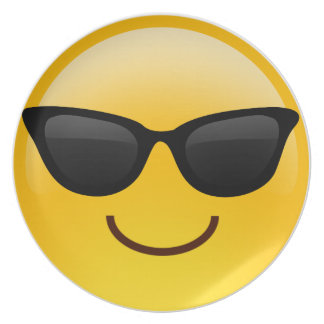 Smiling Face With Sunglasses Cool Emoji Plates