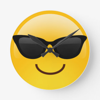 Smiling Face With Sunglasses Cool Emoji Round Clock