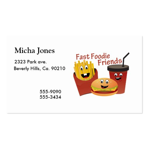 Smiling Fast Foodie Friends Business Card Template