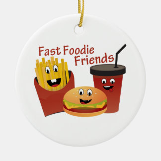 Smiling Fast Foodie Friends Christmas Ornament