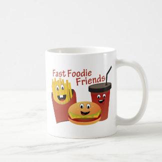 Smiling Fast Foodie Friends Basic White Mug