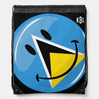 Smiling Flag of Saint Lucia Drawstring Bag