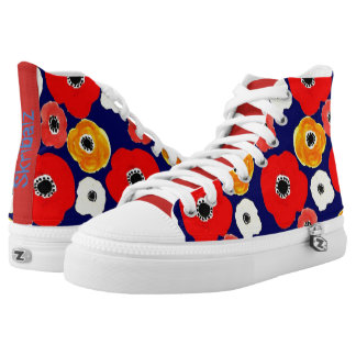 Smiling flowers high tops printed shoes