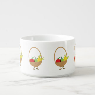 Smiling fruit and vegetable basket character chili bowl