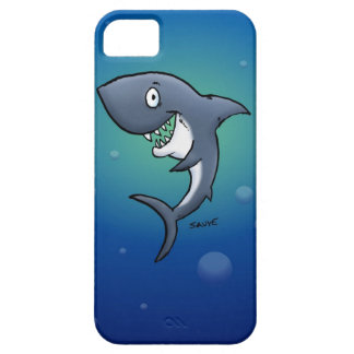 Smiling Funny Shark on Blue Background Case For The iPhone 5