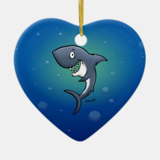 Smiling Funny Shark on Blue Background Christmas Ornament