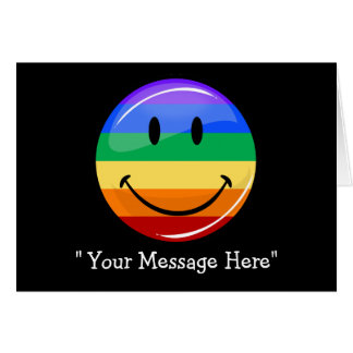 Smiling Gay Pride Flag Custom Greeting Card