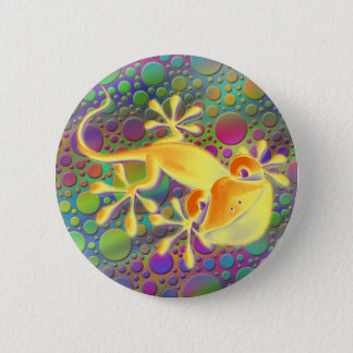 Smiling Gecko - coloured dots 6 Cm Round Badge