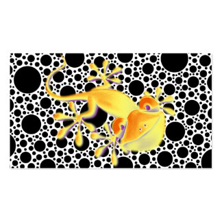Smiling Gecko on black dots + your text Pack Of Standard Business Cards