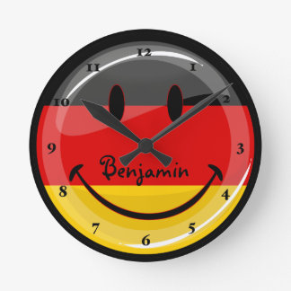 Smiling German Flag Round Clock