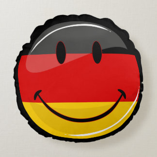 Smiling German Flag Round Cushion