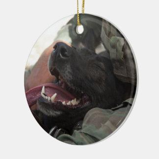 Smiling German Shepherd Military Dog Round Ceramic Decoration