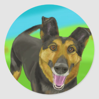 Smiling German Shepherd on Green & Blue Background Stickers