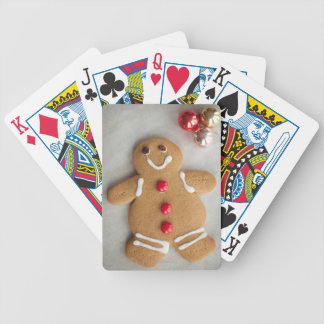 Smiling gingerbread man bicycle playing cards