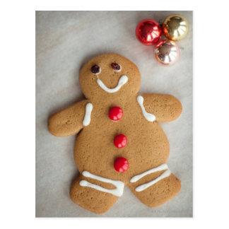 Smiling gingerbread man postcard