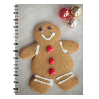 Smiling gingerbread man spiral notebook