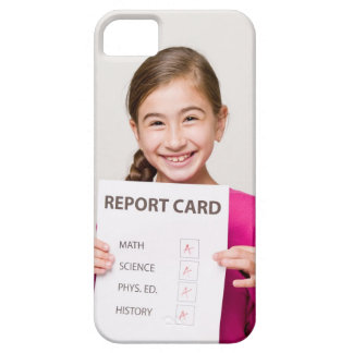 Smiling girl student proud of report card case for the iPhone 5