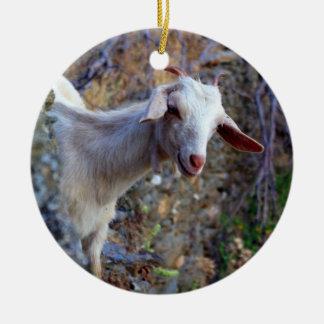Smiling goat round ceramic decoration