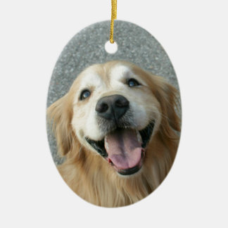 Smiling Golden Retriever Christmas Ornament