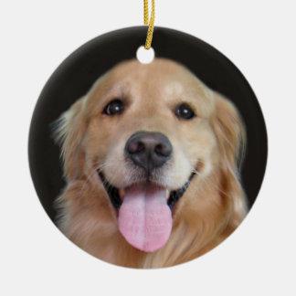 Smiling Golden Retriever Christmas Round Ceramic Decoration
