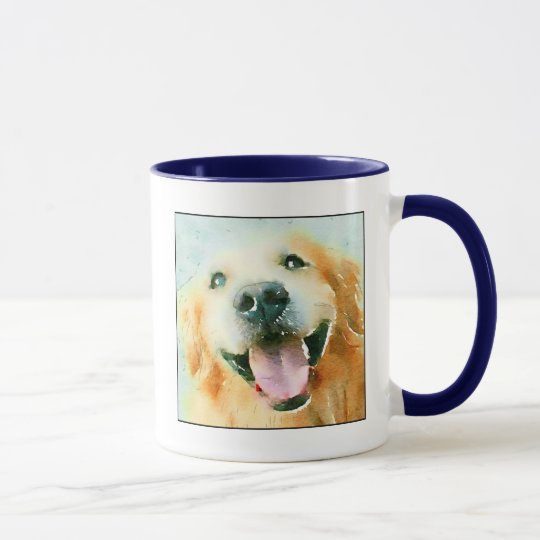 Smiling Golden Retriever in Watercolor Mug