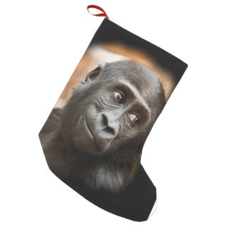 smiling gorilla baby small christmas stocking