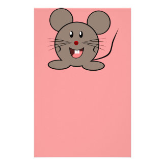 Smiling gray mouse customized stationery