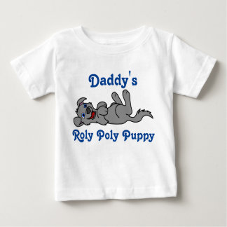 Smiling Gray Puppy Dog Roll Over Baby T-Shirt