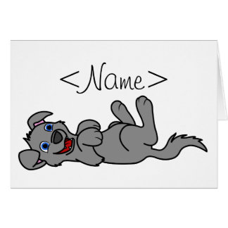 Smiling Gray Puppy Dog Roll Over Greeting Card