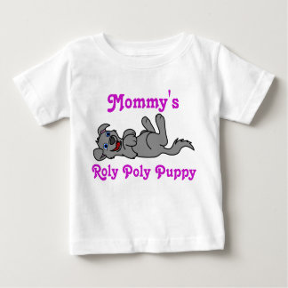 Smiling Gray Puppy Dog Roll Over Shirt