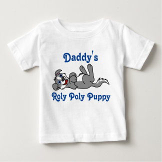 Smiling Gray Puppy Dog with Blaze Roll Over Infant T-Shirt