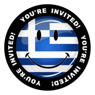Smiling Greek Flag 5.25x5.25 Square Paper Invitation Card