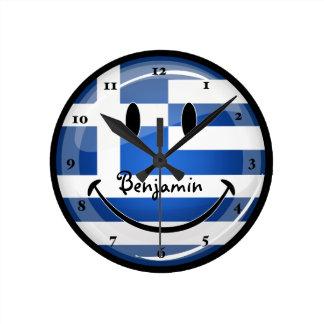 Smiling Greek Flag Round Clock