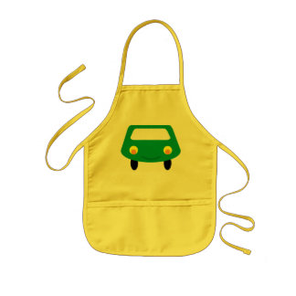 Smiling Green Cartoon Car Apron