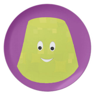 Smiling green gumdrop character plates
