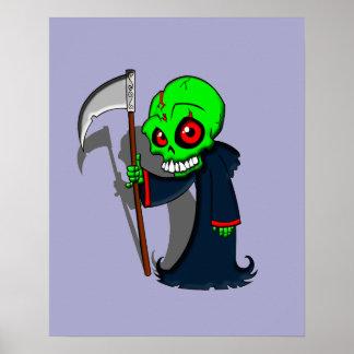 Smiling Grim Reaper Illustration Creepy Cool Poster