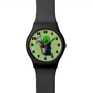 Smiling Grim Reaper Illustration Creepy Cool Wristwatches