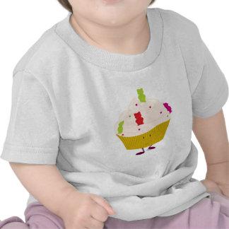 Smiling gummy bear cupcake tee shirts