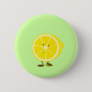 Smiling half lemon character 6 cm round badge