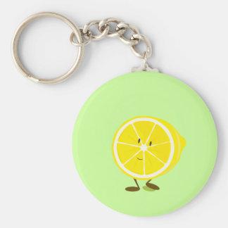 Smiling half lemon character keychains