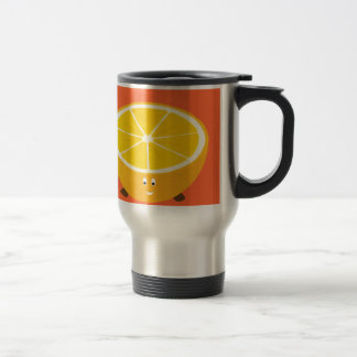 Smiling half orange character travel mug