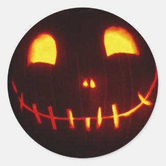 Smiling Halloween Jack-o-Lantern Classic Round Sticker