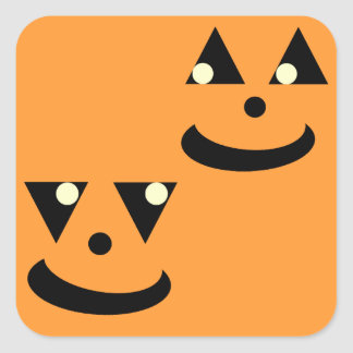 Smiling Halloween Pumpkin Faces Square Sticker