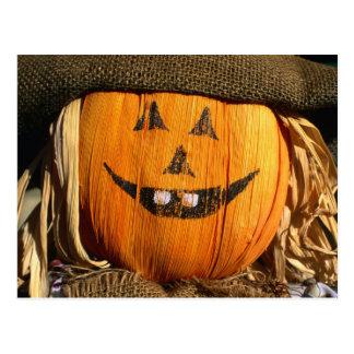 Smiling Halloween Pumpkin Scarecrow Post Card