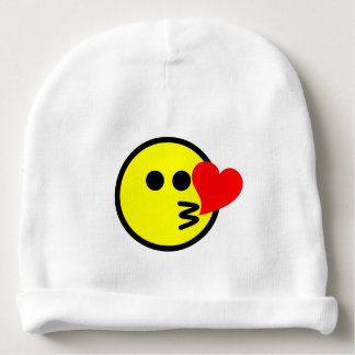 Smiling Happy Face Cartoon Blowing Kiss Baby Beanie